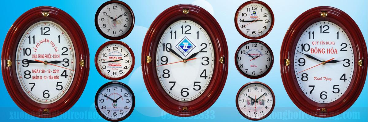 Đồng hồ treo tường khung nhựa PP sơn giả gỗ